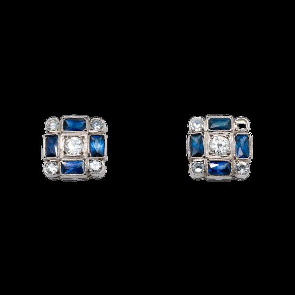 Art Deco diamond and sapphire earrings - image 1