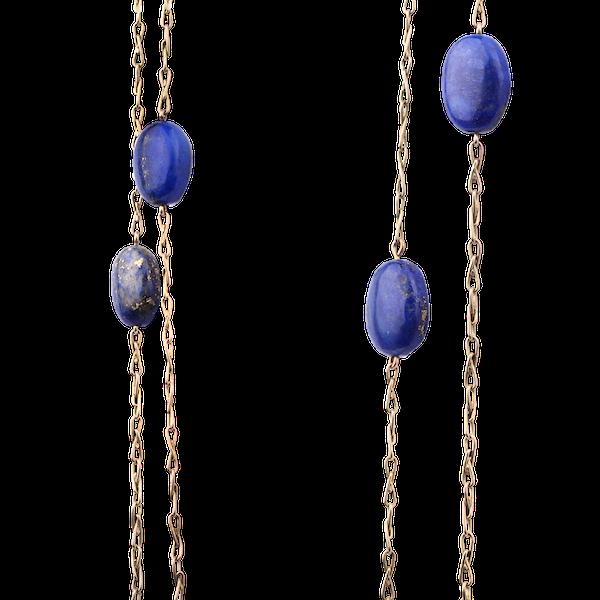 Lapiz and Gold Long-guard chain Spectrum Antiques - image 1