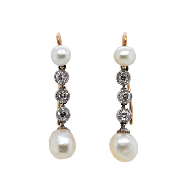 Pearl and diamond dangling earrings - image 1