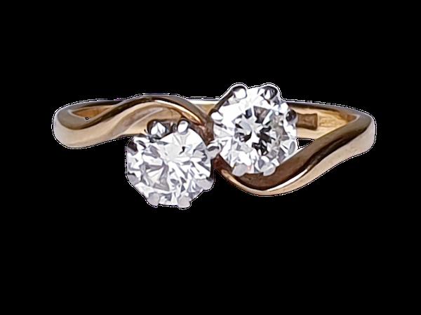 Edwardian Two Stone Diamond Cross Over Ring  DBGEMS - image 1