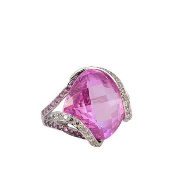 1980's, 18ct White Gold, Pink Topaz  and  Pink Sapphire  and  Diamond stone set Ring, SHAPIRO & Co - image 1