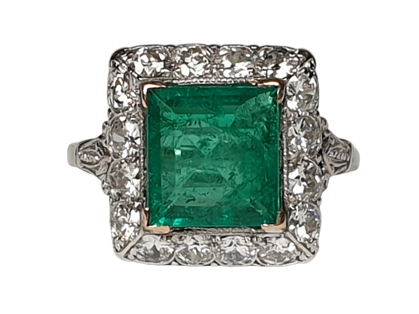 1.92ct Columbian Art deco emerald engagement ring  DBGEMS - image 1