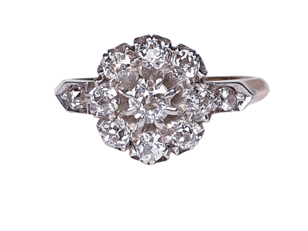 Antique Diamond Cluster Engagement Ring  DBGEMS - image 1
