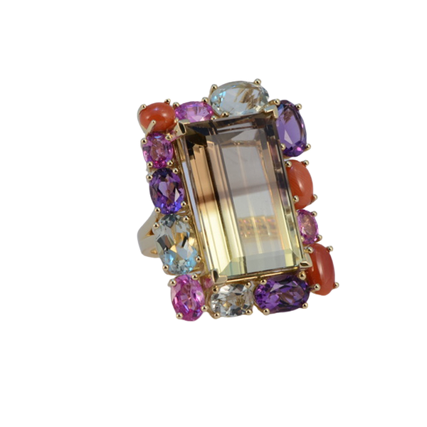 18k Yellow Gold Lamb Quartz stone (the main stone) surrounded by Pink Sapphire, Amethyst, Green Amethyst and Coral stone set Ring by Lilly Shapiro, SHAPIRO & Co - image 1