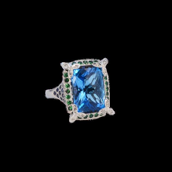 1980's, 18ct White Gold  Blue Topaz, Diamond, Sapphire and Tsavorite Green Garnet, SHAPIRO & Co - image 1