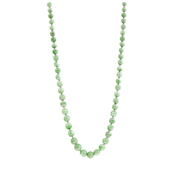 A Jade Necklace with 18ct Gold Clasp - image 1