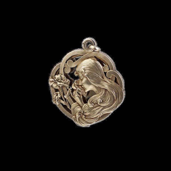 A Silver Art Nouveau Mirror Pendant - image 1