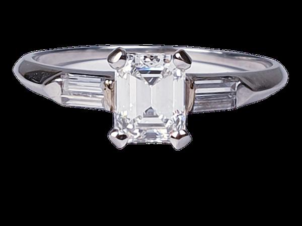 0.70ct emerald cut diamond engagement ring  DBGEMS - image 1