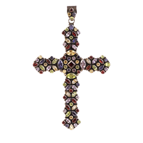 A Large Paste and Silver Multi-Coloured Cross - image 1