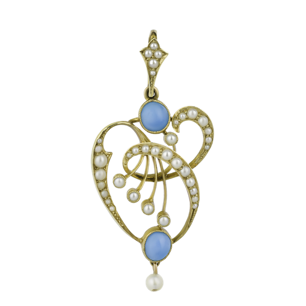Gold Turquoise & Pearl Pendant - image 1