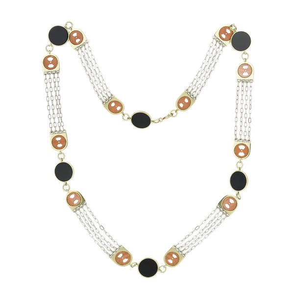 Gold Onyx & Coral Chain - image 1