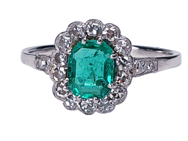 Art deco emerald and diamond engagement ring  DBGEMS - image 1