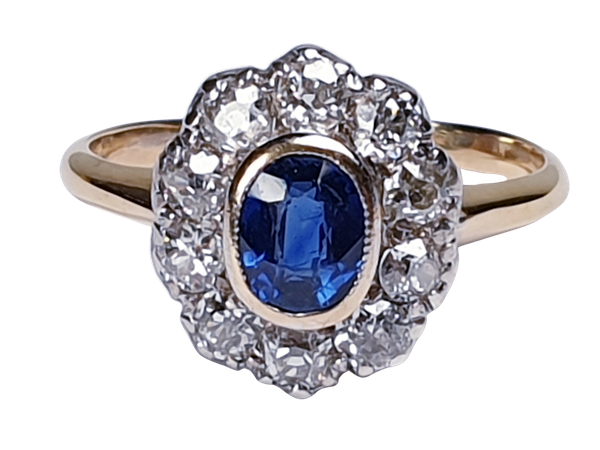 Antique Sapphire and Diamond Cluster Ring  DBGEMS - image 1