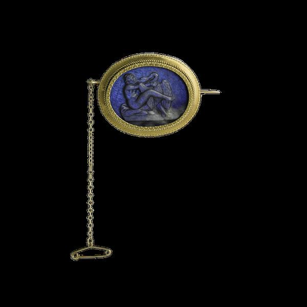 Labradorite Cameo of Leda & The Swan - image 1