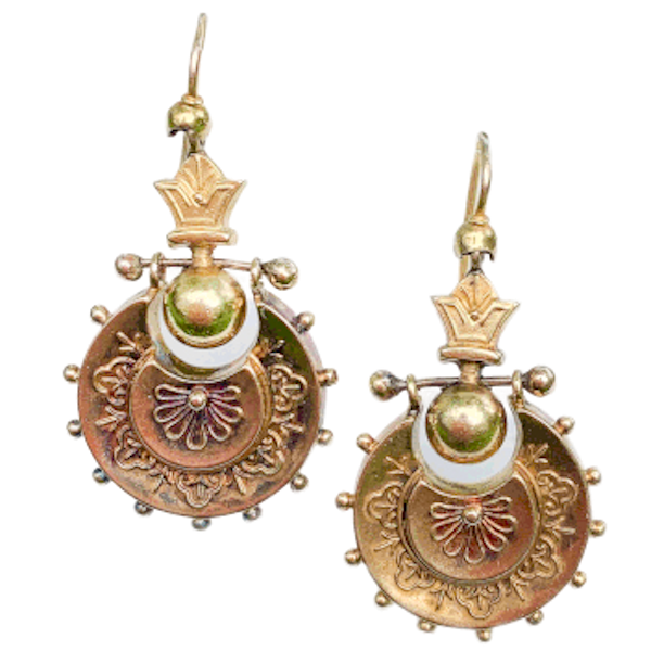 A pair of Gold Drop Earrings - image 1