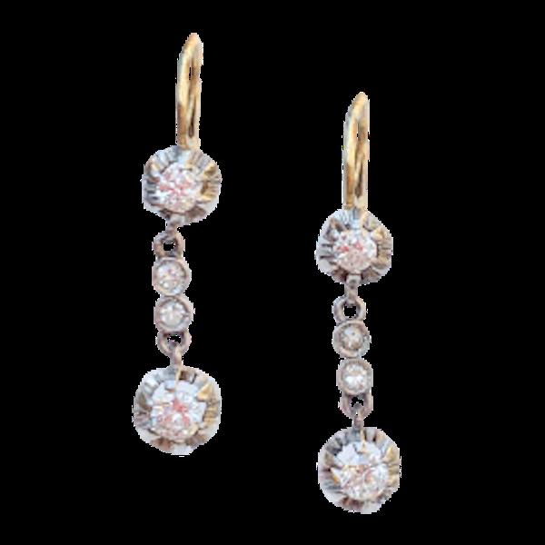 A pair of Gold Diamond Drop Earrings - image 1