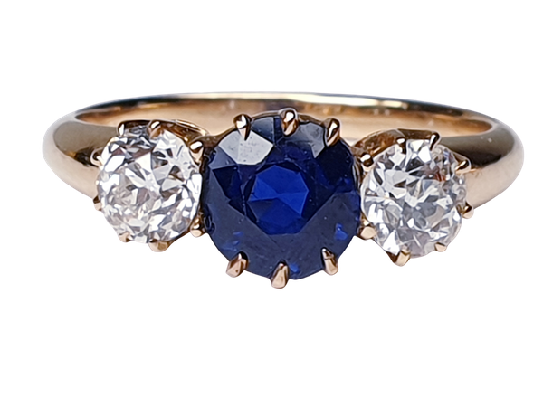 Antique sapphire and diamond engagement ring  DBGEMS - image 1