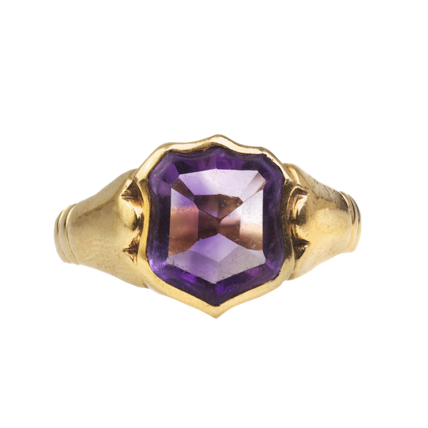 An 1890s Gold Amethyst Shield Ring - image 1