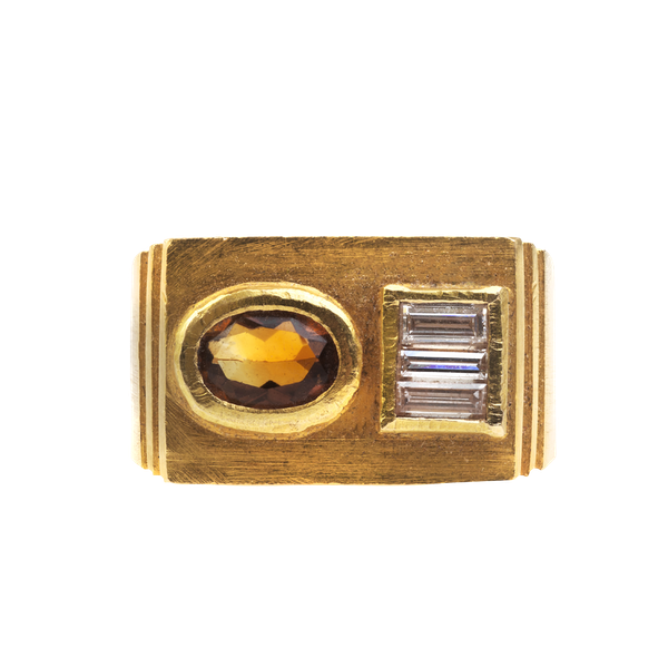 A 1950s Citrine and Diamond Ring - image 1