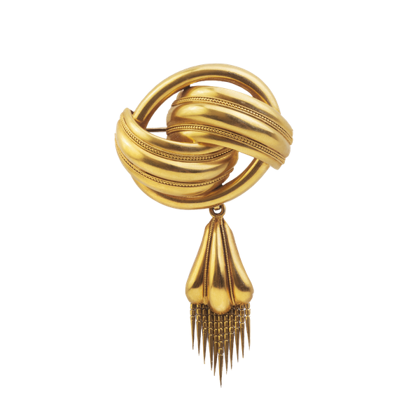 An Antique Gold Knot Brooch - image 1