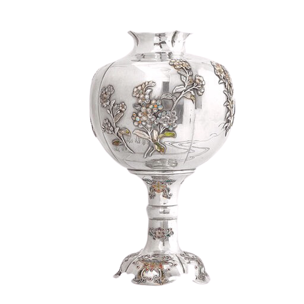 19th century Japanese silver vase - image 1