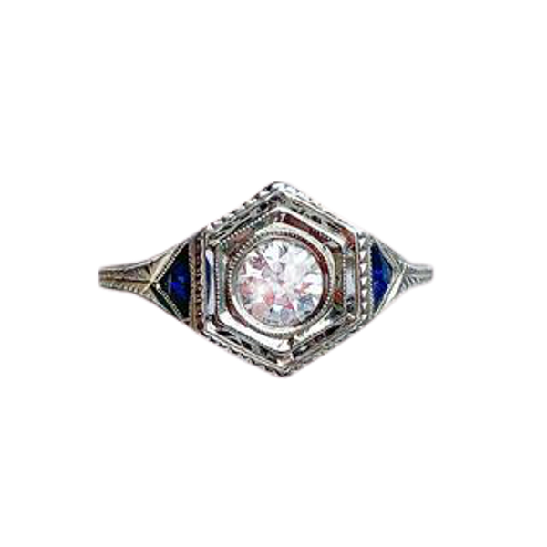 A Hexagonal Diamond and Sapphire Ring - image 1