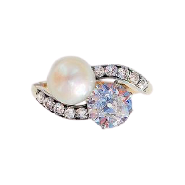 A Diamond and Pearl Moi et Toi 18ct Gold Ring - image 1