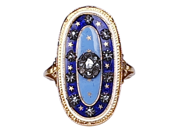 Enamel and Diamond Ring circa 1830  DBGEMS - image 1
