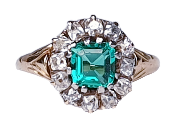 Antique Emerald and Diamond Cluster Engagement Ring  DBGEMS - image 1