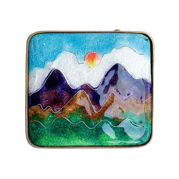 A Mountain Sunrise Enamel Brass Belt Buckle - image 1