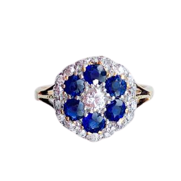 A 1930s Sapphire and Diamond Gold Ring - image 1