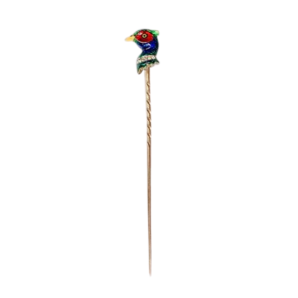 An Enamel Gold Diamond Pheasant Tie Pin - image 1