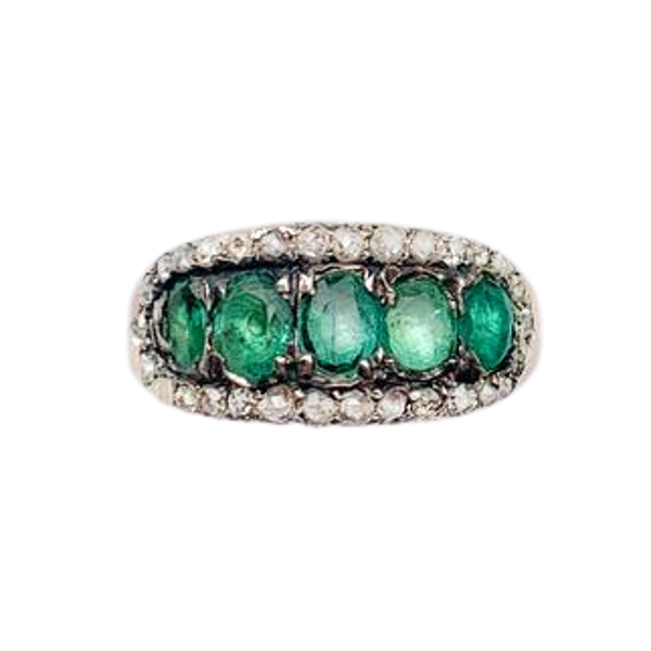A Georgian Emerald Gold Ring - image 1
