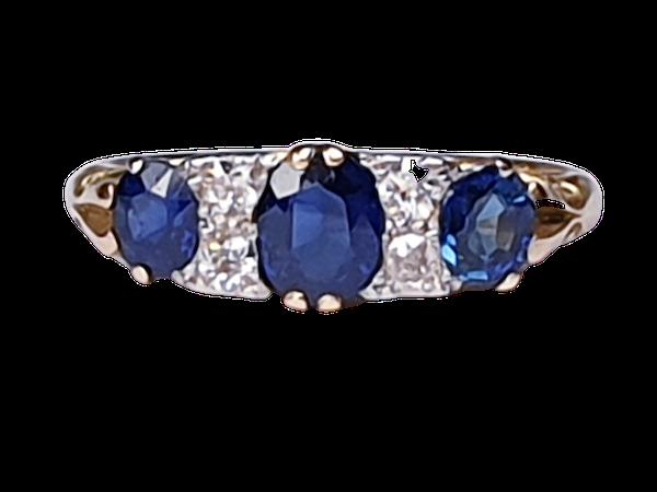 Antique three stone sapphire ring 4271   DBGEMS - image 1