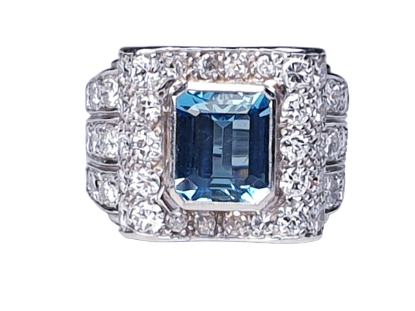 Fabulous Aquamarine and Diamond Platinum Ring  DBGEMS - image 1