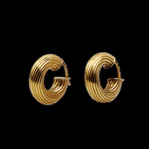 A 1950s Pair of Italian Gold Hoop Earrings - image 1