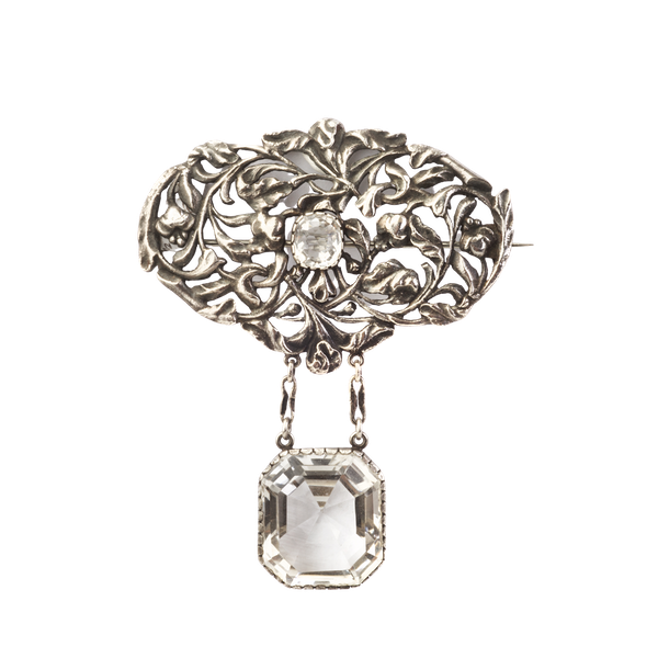 A Silver and Rock Crystal brooch - image 1