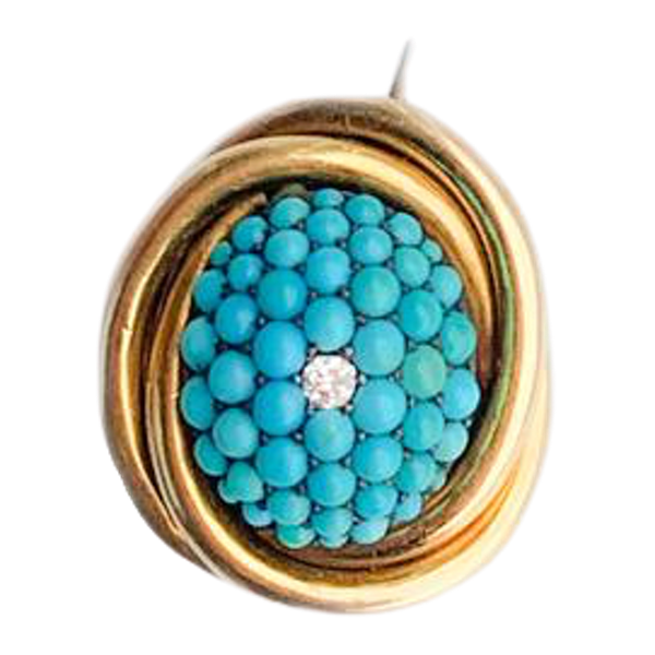 A Turquoise Gold and Diamond Brooch - image 1