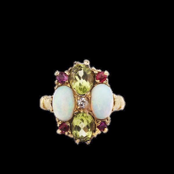 An Opal Peridot Diamond and Ruby Ring - image 1