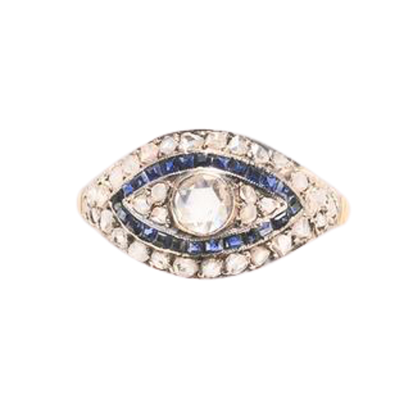 A Diamond and Sapphire Gold Ring - image 2
