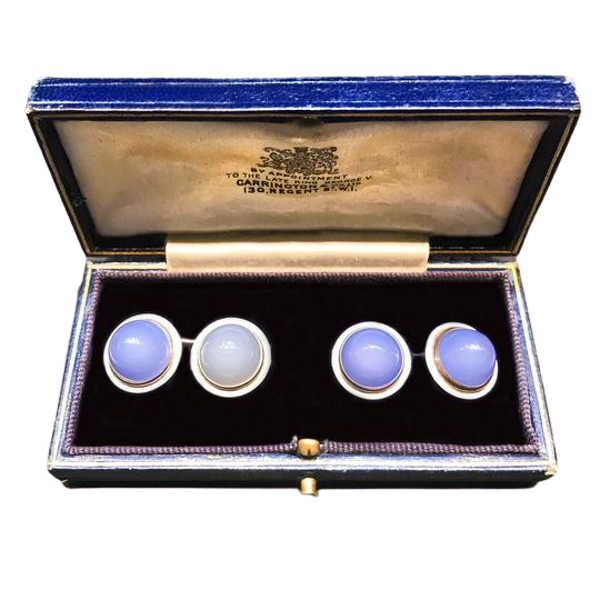 A pair of Blue Chalcedony and White Enamel Cufflinks - image 1