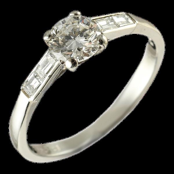 MM5513r Platinum Art Deco single stone ring - image 1