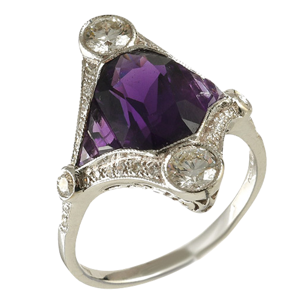 MM6491r Fine quality Calibre Amethyst diamond ring - image 1