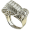 MM6492r Platinum 1940/50c cocktail ring with fine quality baguette and round diamonds - image 1