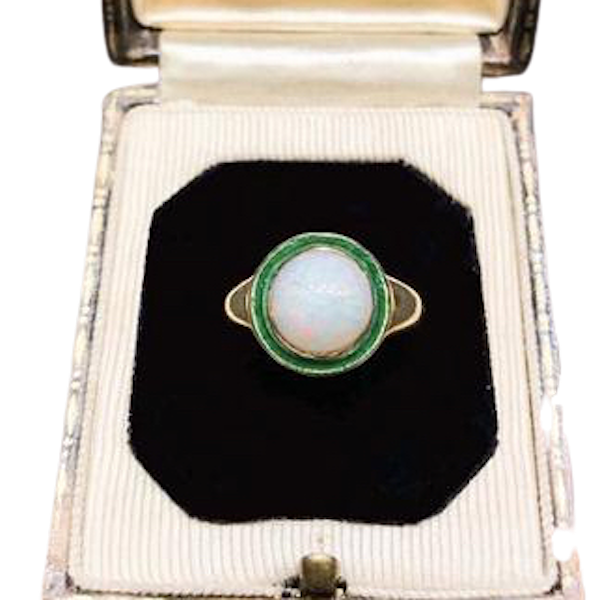 An Opal Gold and Enamel Ring - image 2