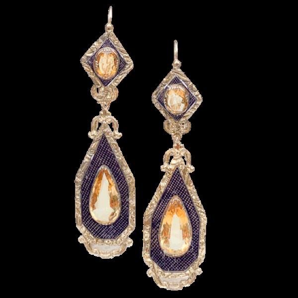 A pair of Citrine and Enamel Drop Earrings - image 1