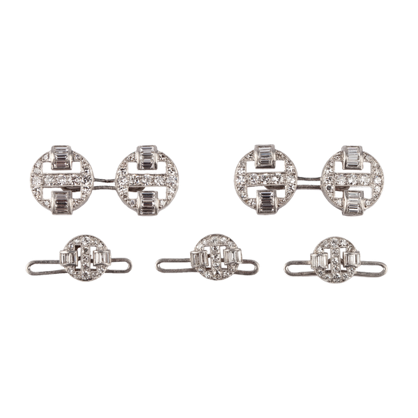 Art Deco Platinum Cufflinks & Studs with Old Brilliant and Baguette Cut Diamonds, English circa 1920. - image 1