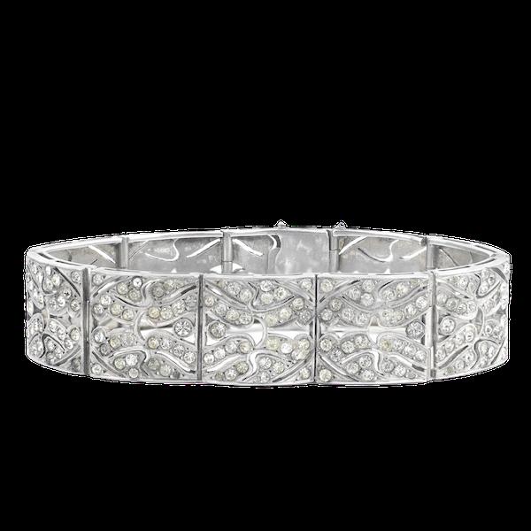 An Art Deco Silver and Paste Bracelet - image 1