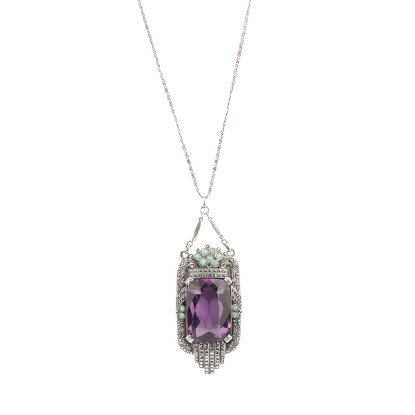 An Amethyst and Opal Pendant - image 1
