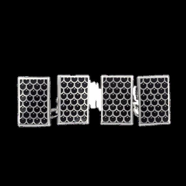 A pair of 1990s Black Enamel Cufflinks - image 1